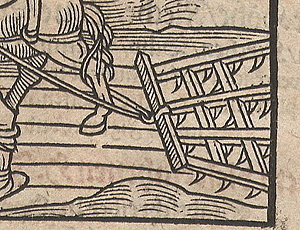 woodcut of a harrow, 1598