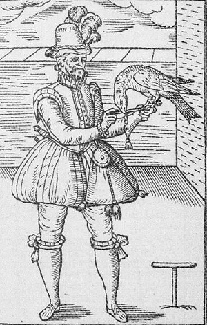 woodcut of a falconer in 1575