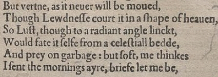 "the ""But virtue"" speech in the First Quarto, 1603"