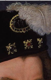 """button"" on Sir Christopher Hatton's cap"