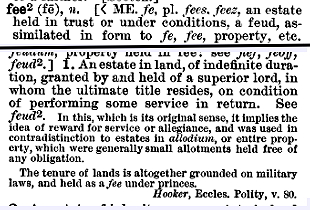 """fee""(2) in the Century Dictionary"