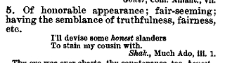 """honest"" in the Century Dictionary"