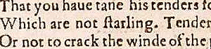 """starling"" in the First Folio"