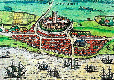 an artist's conception of Helsingborg in 1589